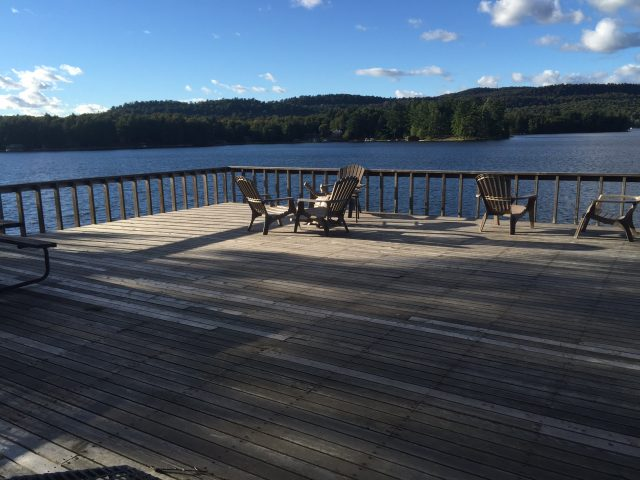 sun deck on top of boathouse.