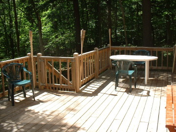 Deck facing the water.