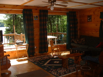 Living area facing the front deck.